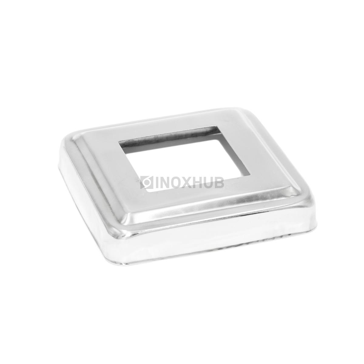 Низ стойки квадратный фигурный штамп 40×40 / 86×86 мм, AISI 304, GRIT 600