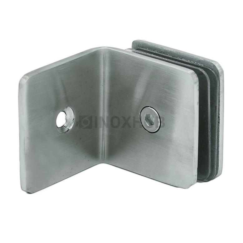 Коннектор L-обр (732 SSS) стекло-стена (без фаски), нерж. сталь матовая