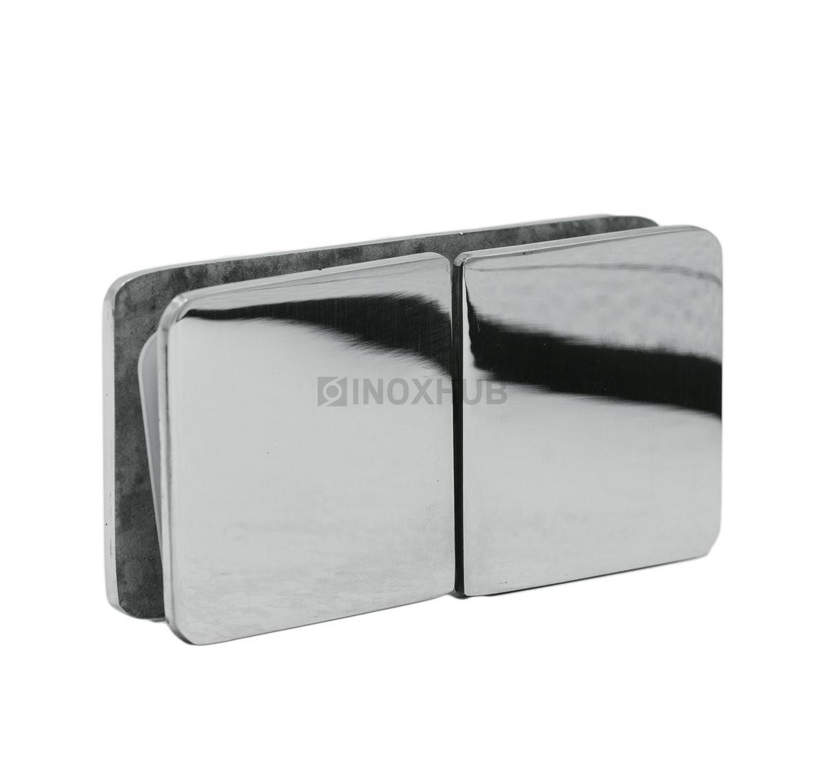 Коннектор (734 PSS ) стекло-стекло 180° (без фаски)  нерж. сталь полированная