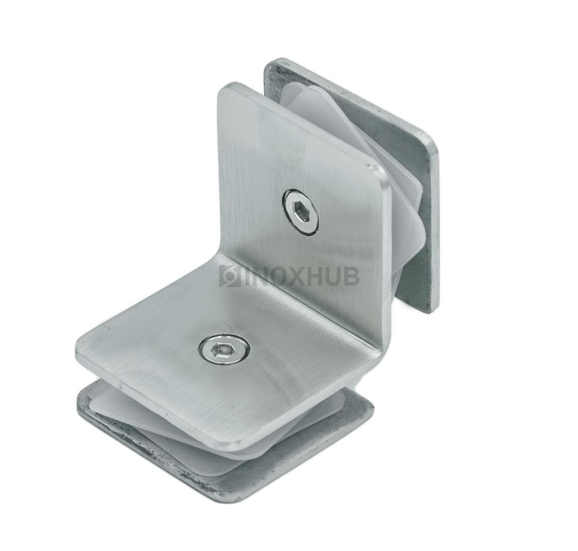 Коннектор (735 SSS)  стекло-стекло 90° (без фаски) нерж. сталь матовая