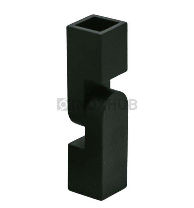 Соединитель штанги (185 BLC) произвольный угол  штанга 15х15 мм Черный мат